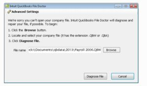 Run the File Doctor from QB Tools Hub